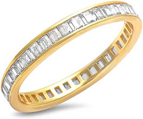 Gold Plated Baguette Cz Band .925 Sterling Silver Ring - Rose or Yellow