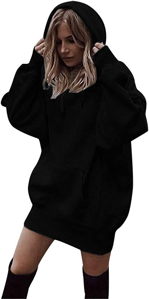 OldSch001 Women Ladies Tunic Cozy High Neck Long Sleeve Solid Sweatshirt with Pocket