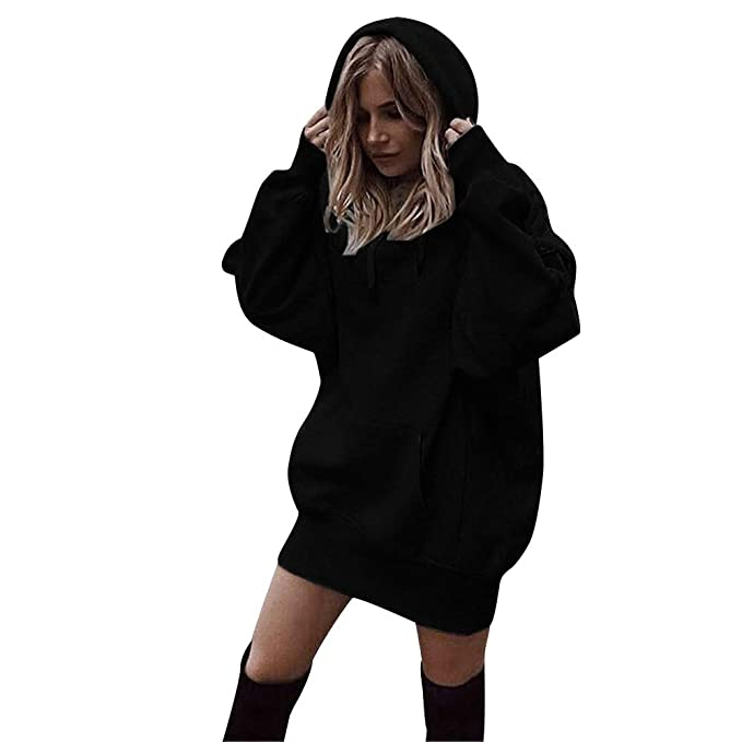 Amazon.com: Tunic Hoodies,Wokasun.☂☂ Women Solid Color Hooded Pullover Coat Lace Up Hoody Sweatshirt: Clothing