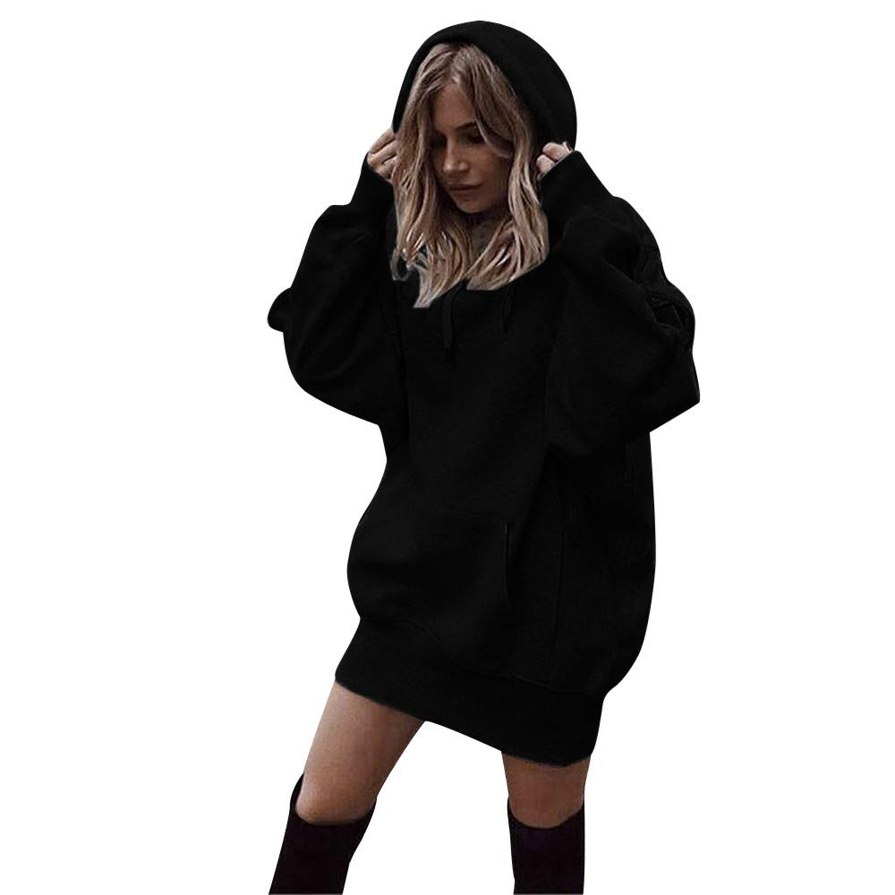 Womens Girls Long Sleeve Hoodie Sweatshirt Casual Loose Solid Pocket Jumper Hooded Pullover Tops Hoodie Dress