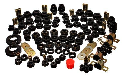 (Energy Suspension 2.18109G Hyper-Flex System Black Incl. F/R Control Arm Bushing F/R Sway Bar Bushing F/R Track Bar Set F/R Bump Stops Body Mount Performance Polyurethane Hyper-Flex System)