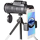 High Power Monocular Telescope Scope and Quick Smartphone Holder for Adults Kids Bird Watching Hunting Travling Wildlife Secenery (Black)