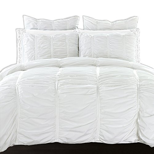 California Design Den Duvet Cover Set Ruffled Cotton All Season Lightweight Luxury Bedding Perfect for Down Comforter, Full/Queen Size, Pure Bright White, 3 (Allure Queen Comforter)