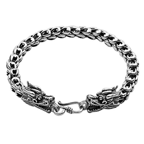 Wellme Sterling Silver Dragon Bracelet - Handmade Vintage 925 Jewelry 7'' 7.5'' 8'' 8.5'' or 9'' (Sterling Silver, 7mm Wide, 8.7 - Bracelets Silver Sterling Handmade