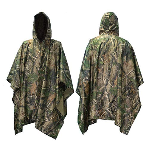 (Raincoat Poncho - Rain Cape Hooded Poncho Packable Rainwear , Waterproof Cycling Rain Cover ,Tent Mat Sunshade Tarp ,Perfect for Long Travel Camouflage Slicker Hunting ,Hiking Camping (Camouflage 2) )