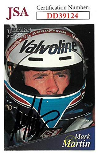 (Mark Martin signed NASCAR 1994 Traks Premium Racing Trading Card #113- Hologram #DD39124 - JSA Certified)
