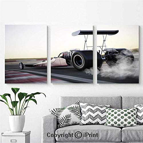 (Wall Art Decor 3 Pcs High Definition Printing Dragster Racing Down The Track with Burnout Competition Speed Sports Technology Decorative Painting Home Decoration Living Room Bedroom Background,16