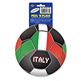 Club Pack of 12 Red, Green and White ''Italy'' Peel 'N Place Soccer Themed Decals 5.25''