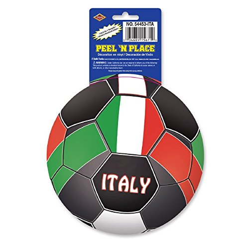 Club Pack of 12 Red, Green and White ''Italy'' Peel 'N Place Soccer Themed Decals 5.25'' by Party Central
