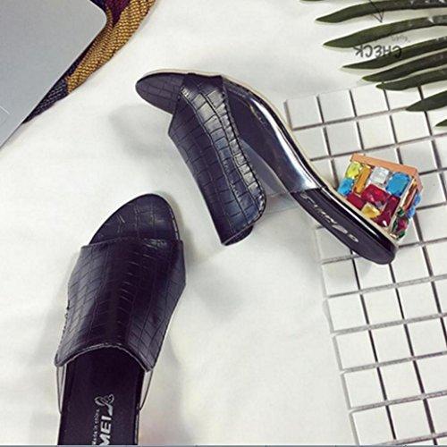 DM&Y 2017 crudo de Europa y Am¨¦rica con una dama conjunto de fuentes sandalias de los pies de diamante zapatillas. sandalias y zapatillas con la cabeza de pescado Black
