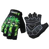 Cycling Gloves Mountain Bike Gloves Bicycle Riding Gloves Half Finger Biking Sports Gloves Skeleton Gloves For Men and Women (Green-Half Finger, Large)