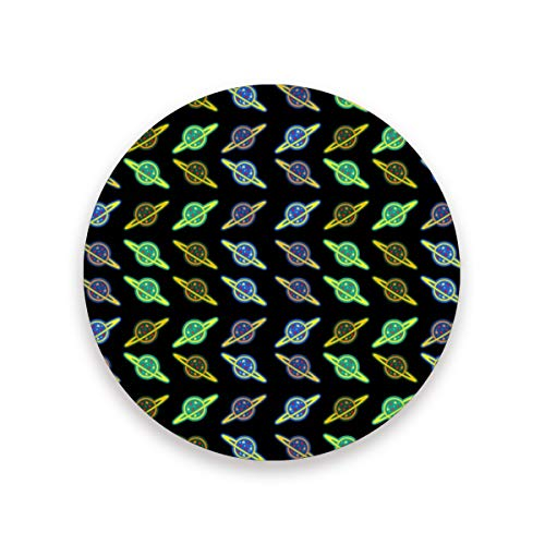 Psychedelic Planet Pizza Ceramic Coasters for Drinks,Round 4 Piece Coaster Set