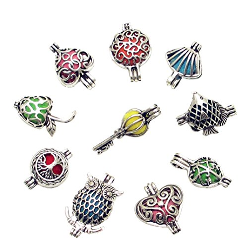 Dandan DIY 10pcs Assorted Styles Bird Brass Cage Owl Heart Landmine Tree Diffuser Locket Perfume Essential Oil Aromatherapy Diffuser Charms Pendant Craft Diffusion Ball (Assorted Styles 2)