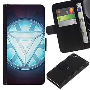 KLONGSHOP // Tirón de la caja Cartera de cuero con ranuras para tarjetas - ARC REACTOR GLOW - Apple Iphone 6 //