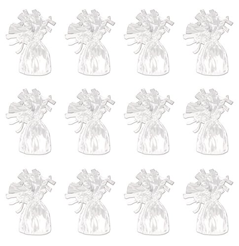Beistle 50804-W White Metallic Wrapped Balloon Weights, Pack of 12]()