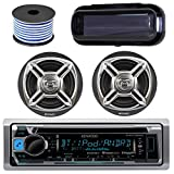 Kenwood Bluetooth CD Radio Receiver KMR-D365BT In-Dash Marine Boat Audio Bundle With Pair Of Enrock 6.5