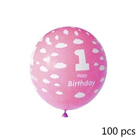 100pcs Globo Aerostático, 1 Cumpleaños, cumpleaños ...