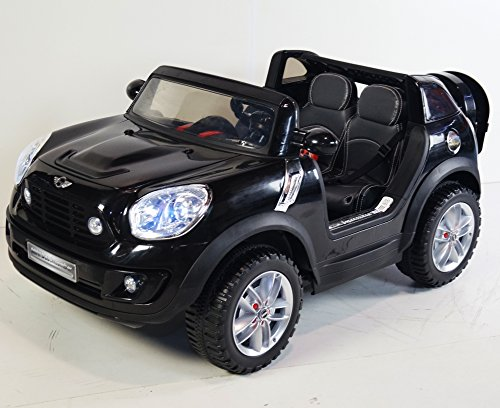 KIDS-CAR power wheels MINI ONE COOPER BLACK LICENSED. 2 SEAT for BOYS and GIRLS 3 to 7 years. With Parent REMOTE Control 12V BATTERY Operated. CAR TO RIDE KIDS Leather seat . Two-Seater! - Girls Power Wheels Two Seats