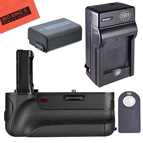 Battery Grip Kit for Sony Alpha A7, A7R, A7S DSLR Camera (VGC1EM replacement) - Includes Qty 1 Replacement NP-FW50 Battery + AC/DC Battery Charger + Vertical Battery Grip