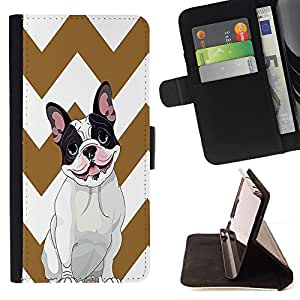 - FRENCH BULLDOG Chevron - - Premium PU Leather Wallet Case with Card Slots, Cash Compartment and Detachable Wrist Strap FOR HTC Desire 820 D820 d820t King case