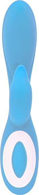 Pure Love G-Spot Silicone Rabbit Vibrator Blue Rechargeable Clitoris Stimulator