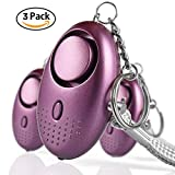 Emergency Personal Alarms 140DB Siren Song Security Electronic Device Self-Defense Protection Safety Alarm Keychain with LED Light for Women Girls Kids Elderly - 3 Pack Purple