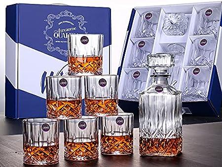 BELLE FILLE Juego de 7 vasos Scotch para licores de con 6 vasos de Scotch para Bourbon o Whisky