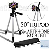 """eCostConnection 50"""" Inch Aluminum Camera Tripod with Universal Smartphone Mount for ALL Smartphones + an eCostConnection Microfiber Cloth"""