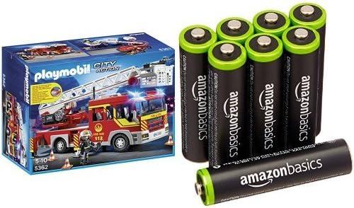 Playmobil Bomberos - Camión y escalera con luces y sonido, playset (5362) y 8 pilas recargables AAA de AmazonBasics: Amazon.es: Juguetes y juegos