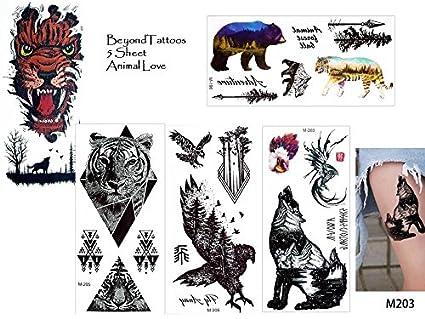 5 láminas Juego de toallas de tatuajes falsos Tatuajes Animal Love ...