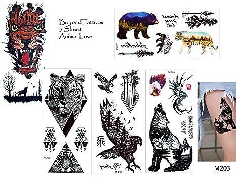 5 láminas Juego de toallas de tatuajes falsos Tatuajes Animal Love 1 Lobo oso Tiger Águila Árboles Tattoo: Amazon.es: Belleza