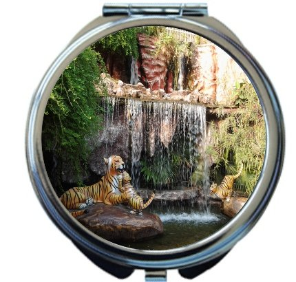 Rikki Knight Fake Tigers laying in Natures Beauty Waterfall Design Round Compact Mirror by Rikki Knight
