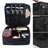 Lmeison Premium Waterproof Portable Velcro Travel makeup bag / Makeup Brush Sets / Cosmetic Artist Organizer Kit for Women Makeup or Men Shaving Kit for vacation-Black