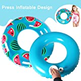 Seryo Inflatable Watermelon Swim Ring Float Pool with Press Built-in Inflator Design for Kids/Youth Water Fun 27 Inch with Carring Bag