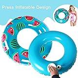 ALMA Seryo Inflatable Watermelon Swim Ring Float Pool Press Built-in Inflator Design Kids/Youth Water Fun 27 inch Carring Bag