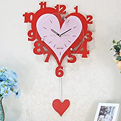 Imoerjia Clock Personalized Clock Cartoon Wall Clock Stylish and Creative Living Heart-Shaped Pendulum Clock Wall Table Mute 家 Swing is 20 Inches (50.5 cm) in Diameter, Red