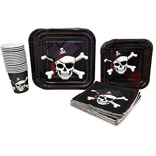 Blue Orchards Pirate Party Supplies Pack (65+ Pieces for 16 Guests!), Pirate Birthday Kit, Pirate Plates, Tableware -