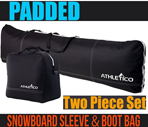 Athletico Padded Two-Piece Snowboard and Boot Bag Combo | Store & Transport Snowboard Up to 165 CM and Boots Up To Size 13 | Includes 1 Padded Snowboard Bag & 1 Padded Boot Bag (146 Cm Skis)