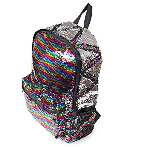 (Reversible Sequin Mermaid Backpacks For Girls Unique Glitter Shoulder Bag Multi)