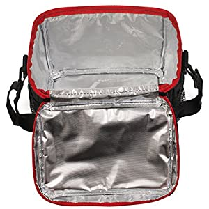 """Insulated Lunch Bag: InsigniaX Adult Lunch Box For Work, Men, Women With Adjustable Strap, Front Pocket and Side Pocket [Unisex Lunch Bags] H: 8.4"""" x W: 6.3"""" x L:9.1"""" (Black & Red)"""