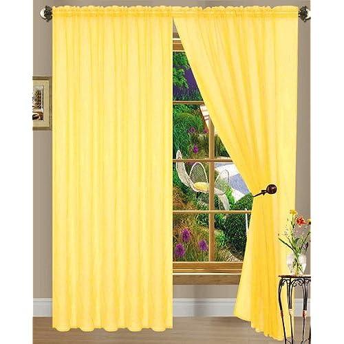 Dpnamron Linda Sheer Voile Panel Curtain Drape 55 X 84 Inches Bright Yellow