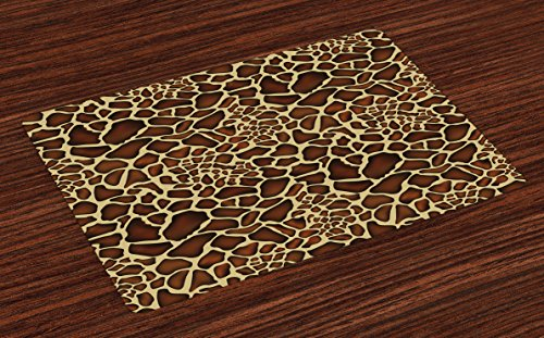 Ambesonne Zambia Place Mats Set of 4, Giraffe Skin Pattern Wildlife Symbolic Zoo Hippie Style Artful Picture, Washable Fabric Placemats for Dining Room Kitchen Table Decor, Redwood Pale Yellow