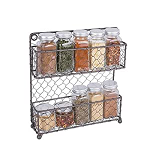Home Traditions 2 Tier Vintage Metal Chicken Wire Spice Rack Organizer for Kitchen Wall, Pantry, Cabinet or Counter