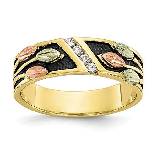 ICE CARATS 10k Tri Color Black Hills Gold Diamond Band Ring Size 7.00 Fine Jewelry Ideal Mothers Day Gifts For Mom Women Gift Set From Heart (Tri Gold Diamond Color)