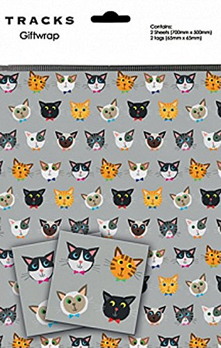 Gift Wrap Cartoon Cat Faces 2 Sheets 2 Tags Amazon Co Uk