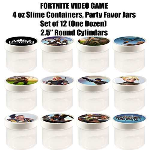 "Fortnite 4 oz Slime Containers, Party Favor Jars, 2.5"" Round Cylinder -12 pcs, durable plastic, put any content, candy, cereal, - Glue Craft Foamies"