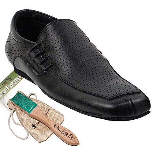 Hommes Salle De Bal Tango Salsa Chaussures De Danse Latine En Cuir Sero102bbxeb Confortable - Très Fin (paquet De 5) En Cuir Perforé Noir