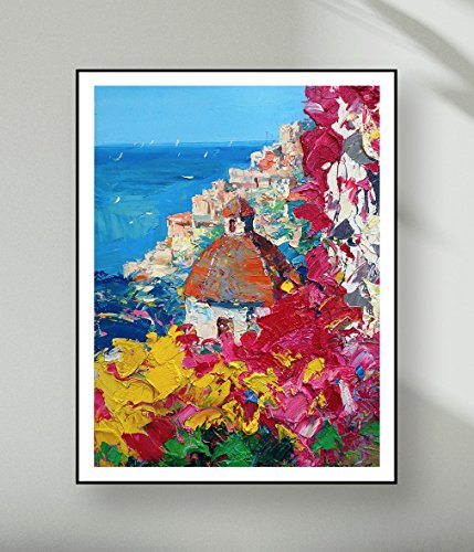 Positano Amalfi Coast Canvas Art Prints from Positano Original Oil Painting of Agostino Veroni