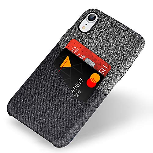 - VEGO Wallet Case for iPhone XR 6.1 inches, Card Pocket Case with Card Slot Holder, Non Slip Twill Canvas Style Synthetic Leather Excellent Grip, Soft Fiber Cloth Lining Compatible iPhone XR(Grey)