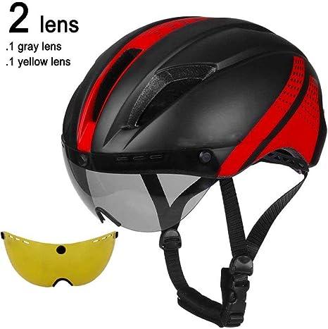 LIUDATOU Lente Gafas magnéticas Casco para Bicicleta Road Mountain MTB Casco de Ciclismo en Molde Velocidad de conducción Casco de Bicicleta de contrarreloj, Negro Rojo 2 Lentes: Amazon.es: Deportes y aire libre